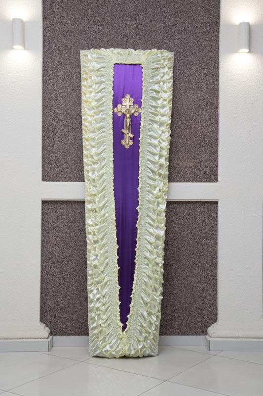 Гроб бело - сереневый атлас  GD-10-atlas