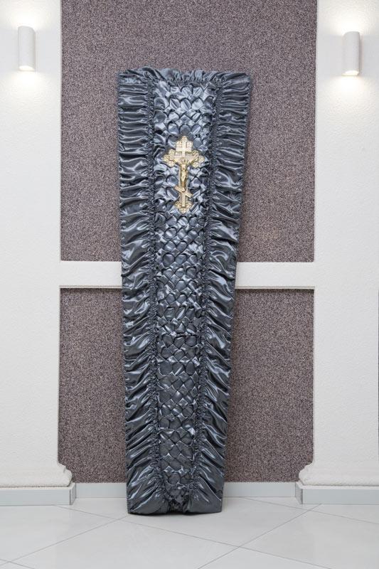 Гроб серый атлас драпировка GD-16-atlas