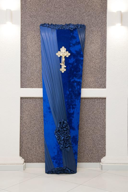 Гроб синий бархат + атлас GD-19-atlas
