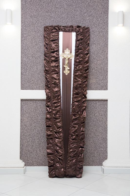 Гроб коричневый атлас драпировка GD-6-atlas
