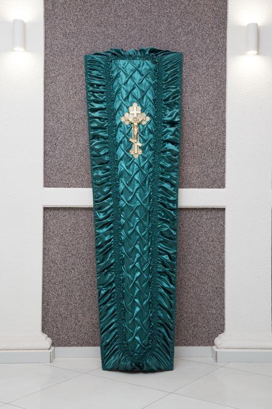 Гроб зеленый атлас драпировка GD-9-atlas
